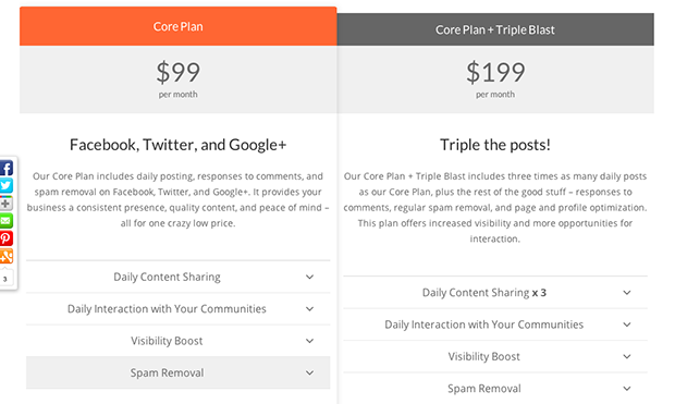 $99 Social Packages and Prices