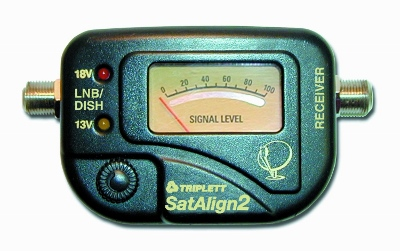 Satellite signal strength meter with tone for dish and directtv