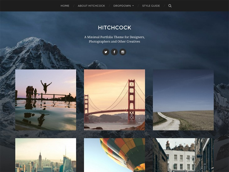 free wordpress portfolio themes hitchcock
