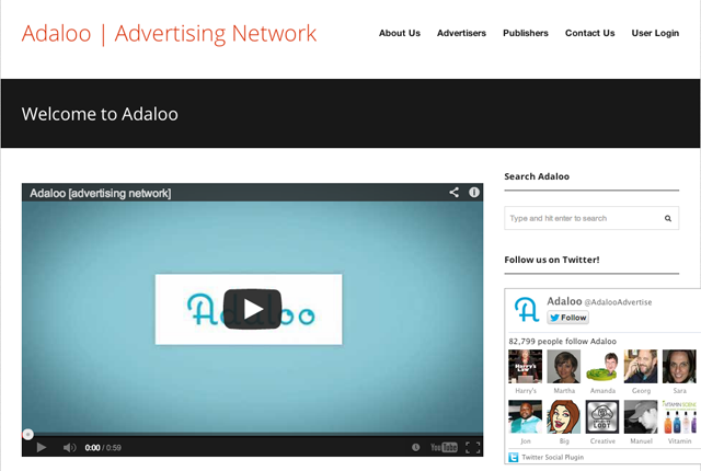 Adaloo Advertising Network Homepage