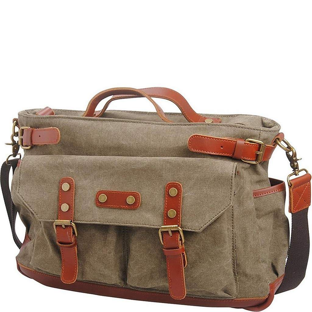 Vagabond Traveler Classic Antique Style Large Cotton Canvas Bag