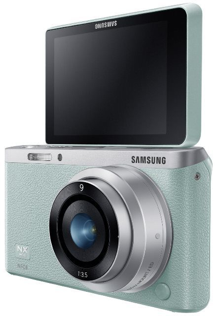 Samsung NX Mini 20.5MP CMOS Smart WiFi and NFC Mirrorless Digital Camera with 9mm Lens and 3 Flip Up LCD Touch Screen, Mint Green