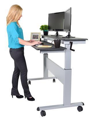 Stand Up Desk Store 60in Crank Steel Adjustable Stand Up Desk