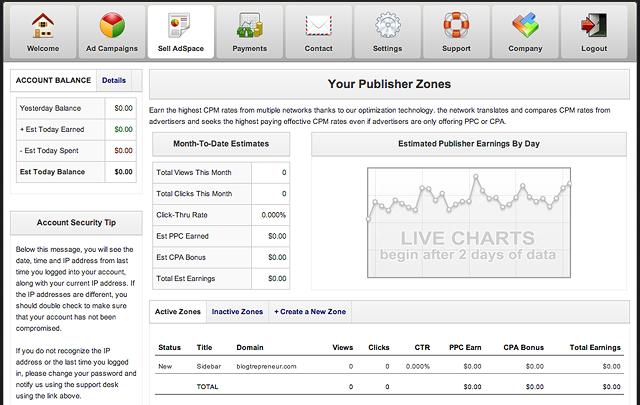 Adaloo Publisher Zone Stats Display